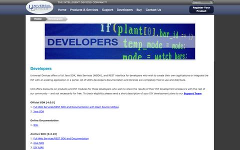 Screenshot of Developers Page universal-devices.com - Developers   Universal Devices, Inc. - captured Sept. 24, 2014