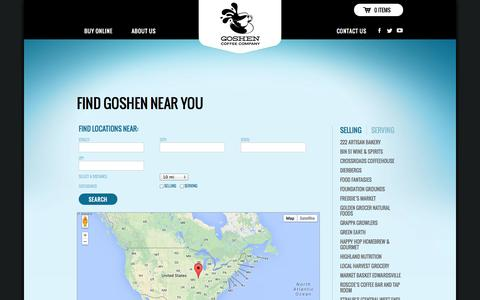 Screenshot of Locations Page goshencoffee.com - Locations « Goshen Coffee - captured Sept. 30, 2014