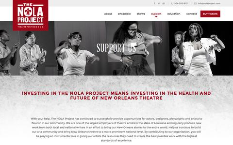 Screenshot of Support Page nolaproject.com - Support – The Nola Project - captured Feb. 15, 2016