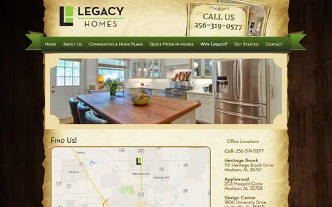 Screenshot of Locations Page legacyhomesal.com - Find Us! - Legacy HomesLegacy Homes - captured Nov. 1, 2014