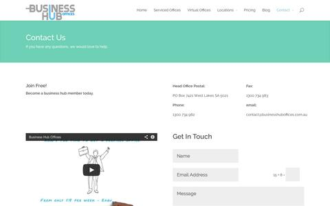 Screenshot of Contact Page businesshuboffices.com.au - Contact Business Hub Offices Today and Book your Office. - captured Oct. 4, 2014