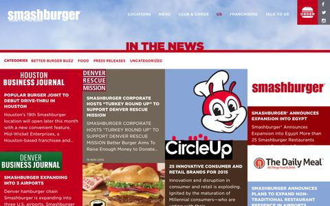 Screenshot of Press Page smashburger.com - In The News - Smashburger - captured Dec. 3, 2015