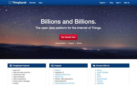 Screenshot of Home Page thingspeak.com - Internet of Things - ThingSpeak - captured Sept. 25, 2014