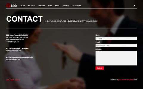 Screenshot of Contact Page bddgroupllc.com - Black Dragon Development Group - captured Sept. 30, 2014