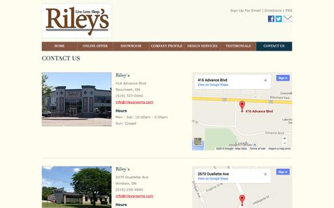 Screenshot of Contact Page Maps & Directions Page rileysrooms.com - Contact Riley's | Furniture near Emeryville & Lakeshore ON - captured Oct. 26, 2014
