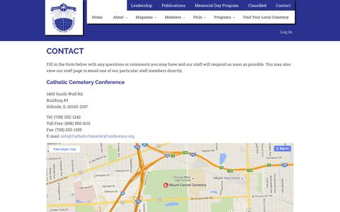 Screenshot of Contact Page catholiccemeteryconference.org - Contact : Catholic Cemetery Conference - captured July 11, 2016