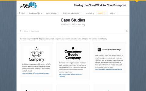 Screenshot of Case Studies Page 2ndwatch.com - Case Studies • 2nd Watch - captured Oct. 10, 2014