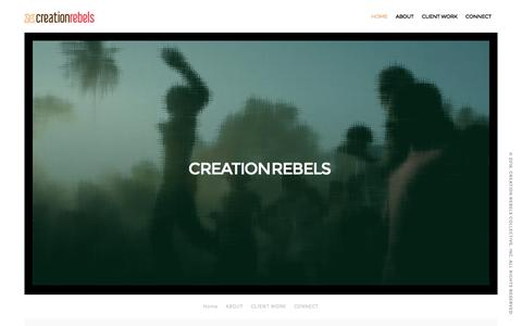 Screenshot of Menu Page thecreationrebels.com - CREATION REBELS COLLECTIVE – At Work in the Fields of Design, Development and Magical Realities - captured Nov. 13, 2016