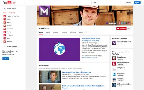 Screenshot of YouTube Page youtube.com - Monster  - YouTube - captured Oct. 22, 2014