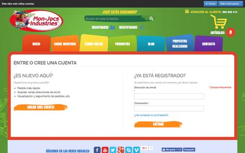 Screenshot of Login Page mon-jocs.com - Identificador de cliente - captured Oct. 14, 2016