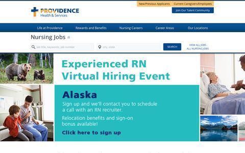 Screenshot of Home Page providence-nursing.jobs - Providence Nursing Jobs - captured Oct. 18, 2018