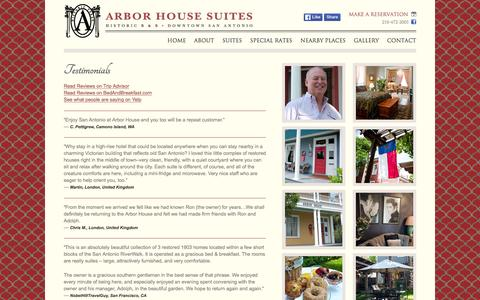 Screenshot of Testimonials Page arborhouse.com - Testimonials  |  Arbor House Suites in San Antonio, TX - captured March 11, 2016