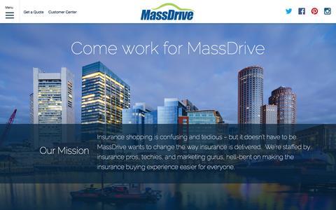 Screenshot of Jobs Page massdrive.com - Massachusetts Car Insurance and more | MassDrive - captured Feb. 12, 2016