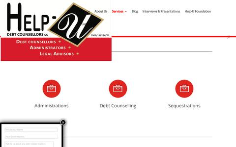 Screenshot of Services Page helpudebtcounsellors.co.za - Services | Help-U Debt Counsellors - captured July 13, 2016