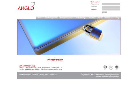 Screenshot of Privacy Page anglo-ltd.com - Privacy Policy - Anglo - Office Productivity - captured Oct. 27, 2014