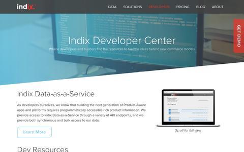 Screenshot of Developers Page indix.com - Dev Center | Indix - captured Aug. 29, 2016