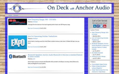 Screenshot of Blog anchoraudio.com - Main BLOG Page - captured Oct. 4, 2014