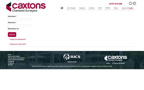 Screenshot of Login Page caxtons.com - Caxtons - captured July 18, 2017