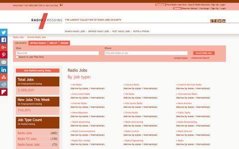 Screenshot of Jobs Page radiocrossing.com - Radio Jobs, Browse Jobs in Radio By Job Type, City, State in United States   RadioCrossing.com - captured Feb. 26, 2016