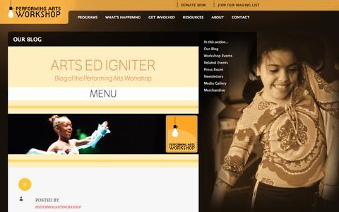 Screenshot of Blog performingartsworkshop.org - Performing Arts Workshop | Arts Ed Igniter - captured Dec. 8, 2015
