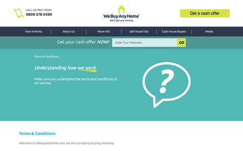 Screenshot of Terms Page webuyanyhome.com - Terms & Conditions - We Buy Any Home - captured Sept. 20, 2018