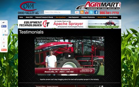 Screenshot of Testimonials Page ohiovalleyag.com - Ag Testimonials | APACHE | Ag Equipment | Ohio Valley Ag - captured Oct. 7, 2014