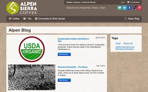 Screenshot of Blog alpensierracoffee.com - Alpen Sierra Coffee Company :: Alpen Blog - captured Oct. 4, 2014