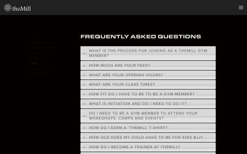 Screenshot of FAQ Page themillgym.com - FAQ — theMill - captured Sept. 21, 2018