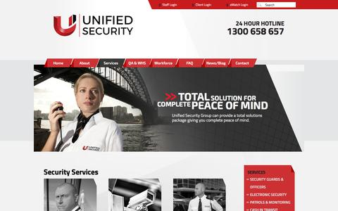 Screenshot of Services Page unifiedsecurity.com.au - Our Services - Security Guards - captured Oct. 19, 2017