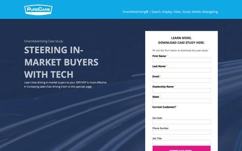 Screenshot of Landing Page purecars.com - PureCars SmartAdvertising - Steering In-Market Buyers with Tech - captured Aug. 18, 2016