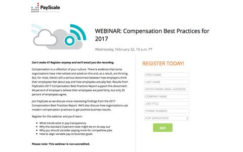 Screenshot of Landing Page payscale.com - Compensation Best Practices for 2017 - Webinar - captured Feb. 23, 2017