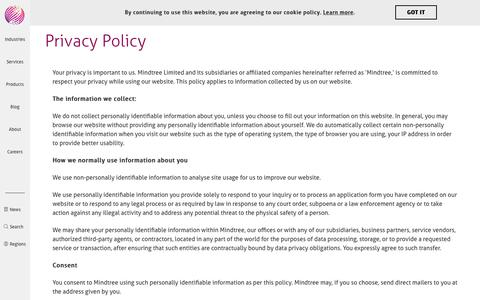 Privacy Policy | Mindtree
