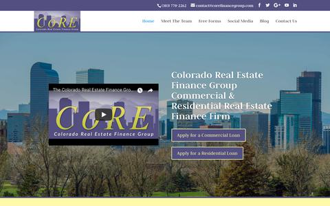 Screenshot of Home Page corefinancegroup.com - Colorado Real Estate Finance Group | Residential & Commercial Mortgage - captured Sept. 28, 2018