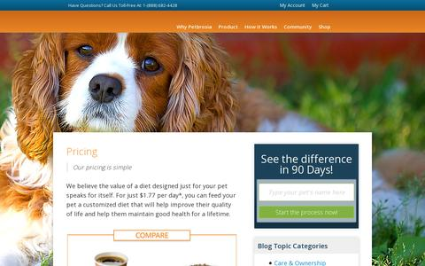 Screenshot of Pricing Page petbrosia.com - Pet Food Price Details - Petbrosia - captured July 19, 2014