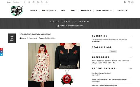Screenshot of Blog catslikeus.com - Blog - Retro fashion, lifestyle, culture, food, and cocktail recipes – Cats Like Us - captured May 15, 2017