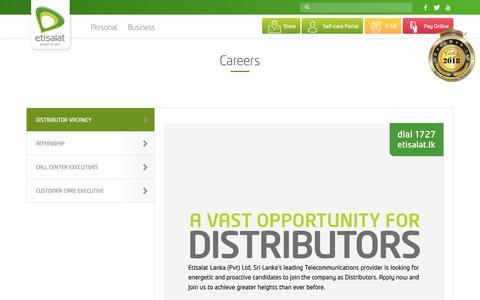 Screenshot of Jobs Page etisalat.lk - Careers – Etisalat Sri Lanka - captured Sept. 29, 2018