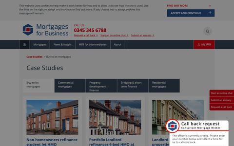 Screenshot of Case Studies Page mortgagesforbusiness.co.uk - Buy to let case studies | Mortgages for Business - captured Oct. 1, 2018