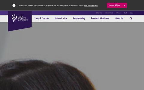 Screenshot of Home Page leedsmet.ac.uk - Leeds Beckett University - captured Sept. 25, 2014