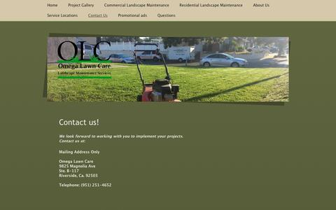 Screenshot of Contact Page omegalawncare.com - Commercial Landscape Maintenance, Omega Lawn Care, Serving City of Riverside, City of Corona, City of Loma Linda, City of Fontana and City of Grand Terrace Ca. - Contact Us - captured Dec. 17, 2016
