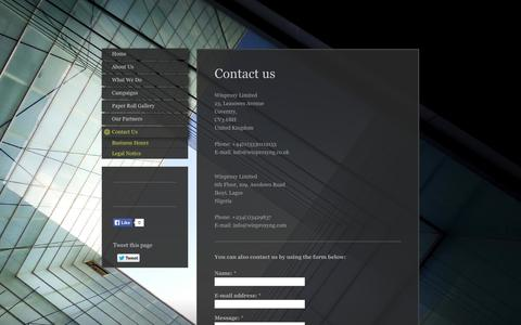 Screenshot of Contact Page winproxyng.com - Contact Us - Timproxy Limited - captured Oct. 26, 2014