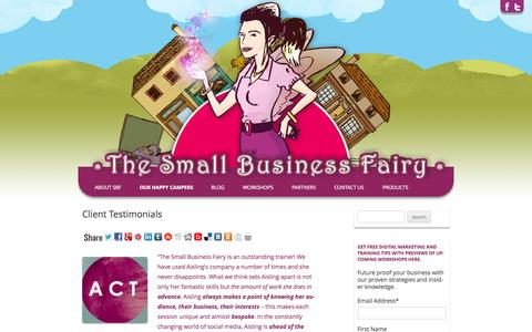 Screenshot of Testimonials Page thesmallbusinessfairy.com - SEO, business training, social media - captured Oct. 9, 2014