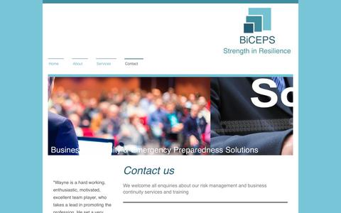 Screenshot of Contact Page biceps.org.uk - Business Continuity & Emergency Preparedness Solutions - Contact - captured Oct. 11, 2017
