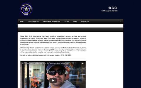 Screenshot of Home Page austinguard.com - U.S. International   Protection and Investigation Services - captured Nov. 17, 2016