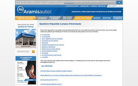 Screenshot of FAQ Page aramisauto.com - Questions fréquentes à propos d'Aramisauto - captured Sept. 13, 2014