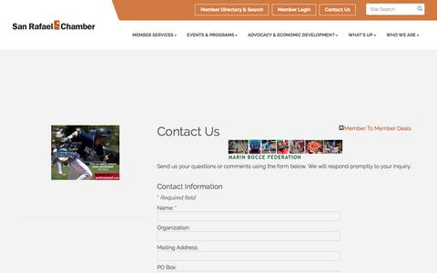 Screenshot of Contact Page srchamber.com - Contact Us - San Rafael Chamber of Commerce, CA - captured Oct. 4, 2017