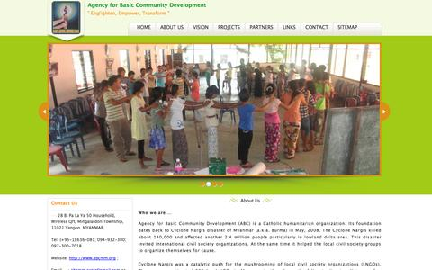 Screenshot of About Page abcmm.org - Agency for Basic Community Development - captured Oct. 4, 2014