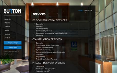 Screenshot of Services Page burtonconstruction.com - Services | Burton Construction - captured Sept. 30, 2014