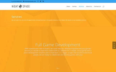 Screenshot of Services Page nightspade.com - Services | Nightspade - captured Nov. 15, 2017