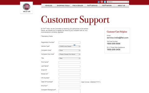 Screenshot of Support Page fiat-india.com - Customer Support | Register your Complaint | FIAT India - captured Sept. 19, 2014