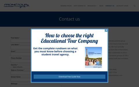 Screenshot of Contact Page prometour.com - Contact us - Prometour Educational Tours - captured Sept. 26, 2015